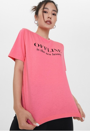 Pomelo pink Sustainable Offline is the New Luxury Graphic Tee - Pink 97E14AAE6B0D7DGS_1