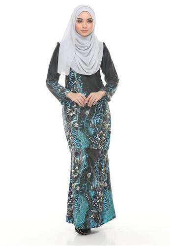 Kurung Modern Iwani (Black + Turquoise) from Nur Shila in Black