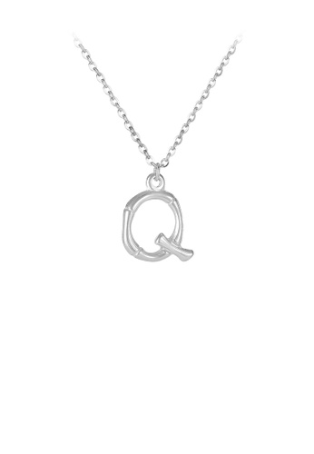 Glamorousky silver Fashion Simple English Alphabet Q 316L Stainless Steel Pendant with Necklace CC1F3ACD51AF33GS_1