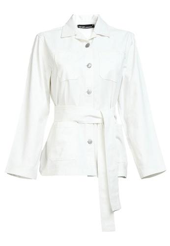 POPLOOK white Habeba Utility Denim Jacket 8B9FAAAF31EBE7GS_1