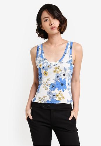 Dorothy Perkins blue Blue Floral Viscose Vest DO816AA85UTEMY_1