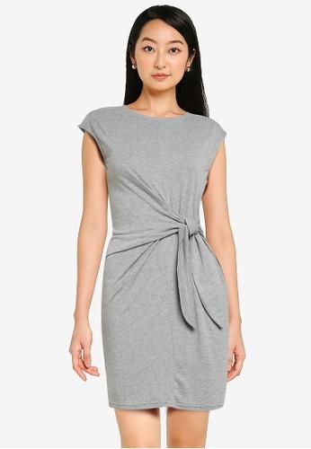 ZALORA BASICS grey Knot Front T Shirt Dress AE224AA71394D0GS_1