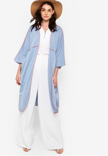 Zalia blue Contrast Binding Cardigan 12DFDAADB43D37GS_1