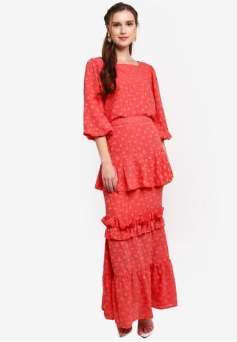 Lubna red Balloon Sleeve With Mermaid Skirt Kurung B17ACAAA1B8EDAGS_1