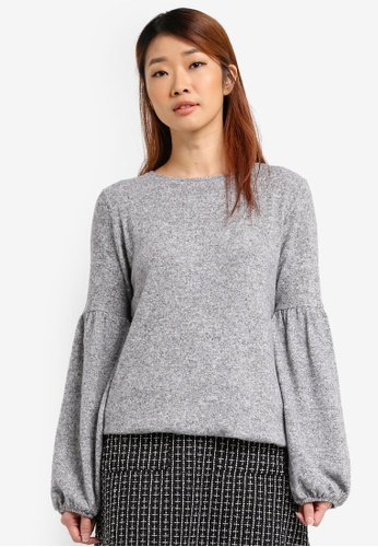 Dorothy Perkins grey Balloon Sleeve Brushed Jumper DO816AA0SRCPMY_1