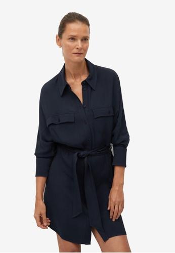 Mango blue Belt Shirt Dress AE7E9AAFFBE803GS_1