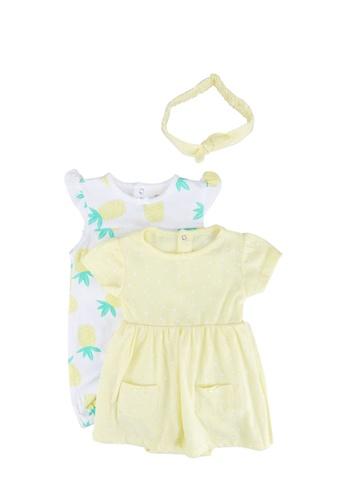 FOX Kids & Baby yellow Romper Dress and Short Overall 3-Piece Set 3C48CKA56A34D1GS_1