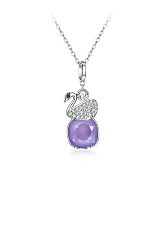 Glamorousky purple 925 Sterling Silver Elegant Swan Geometric Pendant with Purple Austrian Element Crystal and Necklace E22BAAC582E474GS_1