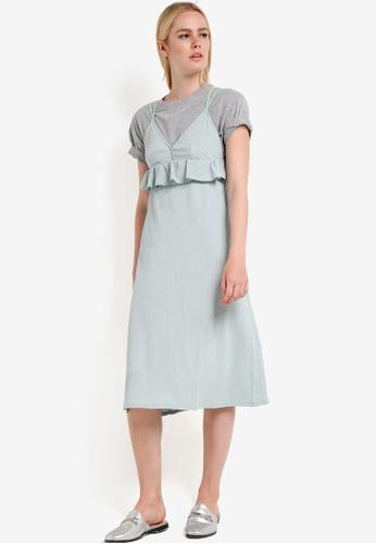 Mango green Textured Ruffled Dress MA193AA87GVOMY_1