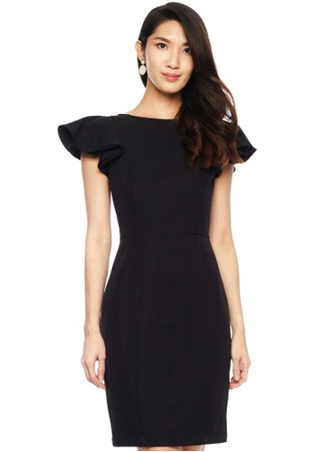 Nichii black Short Ruffle Cape Sleeve Dress 8BBCFAAAF4FDEFGS_1