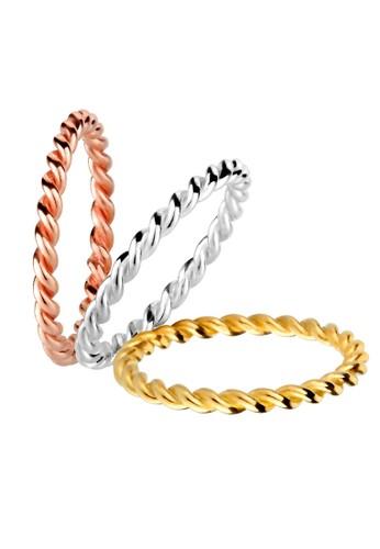 Elli Germany silver Perhiasan Wanita Perak Asli - Silver Cincin Basic Tricolor Set 6414FACE212088GS_1