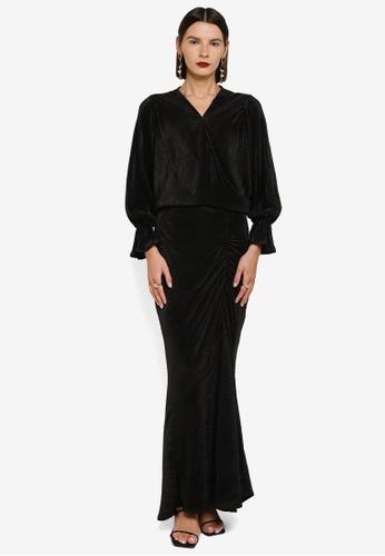 Zalia 黑色 Pleat Wrap Top With Bishop Sleeve Set 3B816AA62BB51CGS_1