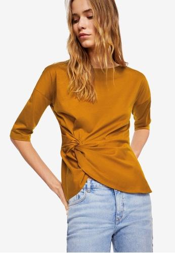 Mango yellow Knot Detail T-Shirt 6E7DDAA8E04E3DGS_1