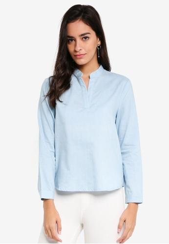 ZALORA BASICS blue Mandarin Collar Top 8553DAAE592873GS_1