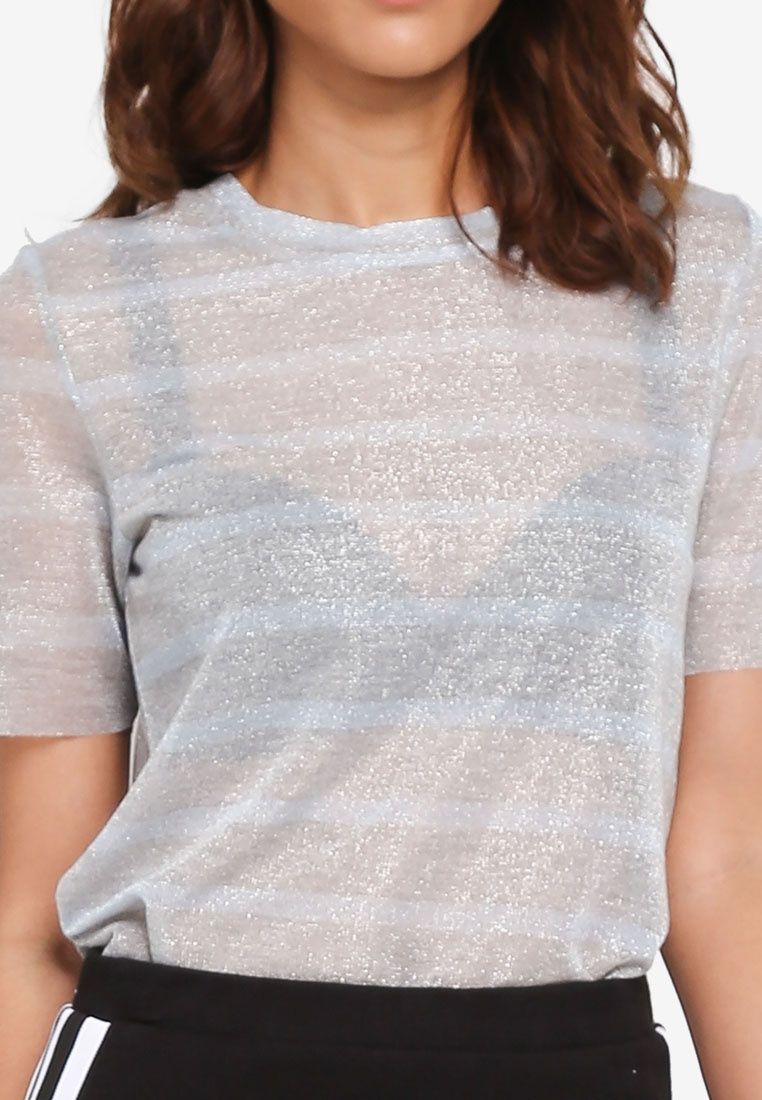 Pieces Sleeve Melange Lurex Alyssa Tee Stripes Short Light Grey KBLU qqaCHxw