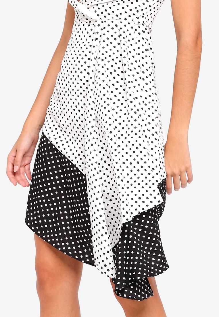 Contrast Spot Hem Alice Dress White Midi Lavish Black Flounce rRSdwAqr