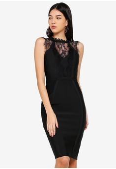 Lipsy black High Neck Lace Dress 3962BAA78C5FB7GS 1 17080a788