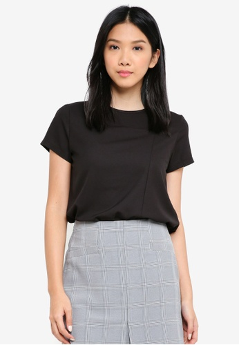ZALORA BASICS black Asymmetrical Drape Top 54591AA087E837GS_1
