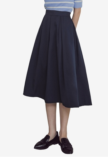 Kodz navy Plain Knee-Length A-Line Skirt 1FB2CAAD341C40GS_1