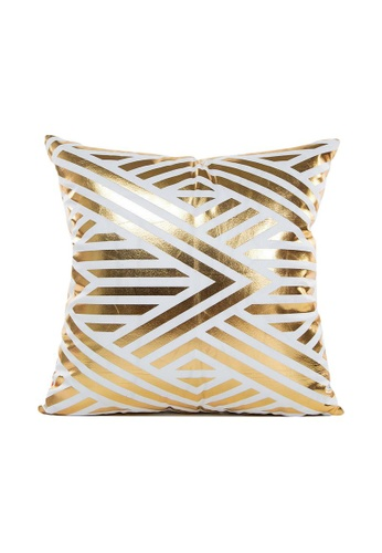 DILAS HOME Arrow Gold Print Cushion Cover 210BCHLFCBFFE5GS_1
