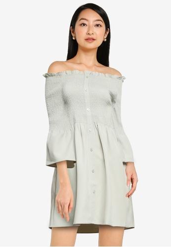 ZALORA BASICS green Off Shoulder Smocked Dress EB51DAAE5FDD07GS_1