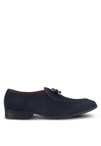 ACUTO navy Suede Bow Loafers AC283SH0SL5NMY_1