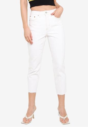 TOPSHOP white Off White Straight Leg Capri Jeans 64DA2AA38D72A0GS_1