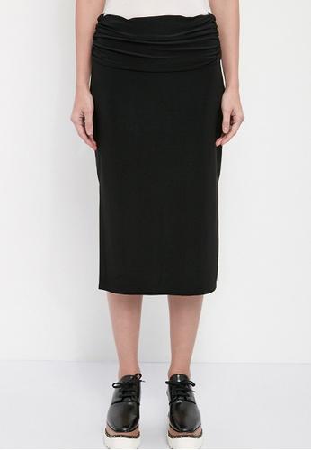 Dkny black DKNY Women Ruched Midi Straight Skirt 108E9AA6D96DD5GS_1