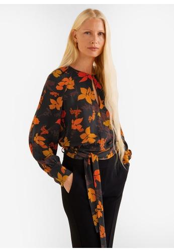 MANGO brown Floral Print Blouse 53B4EAAA600BABGS_1