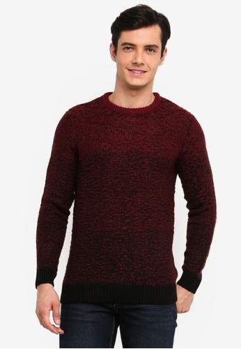 OVS 紅色 2-Tone 針織Pullover 80CE4AAE5181BFGS_1