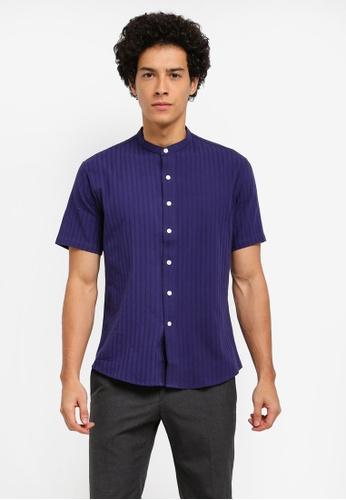 ZALORA navy Patterned Stripes Mandarin Collar Short Sleeve Shirt 375F0AAEFCFAEBGS_1