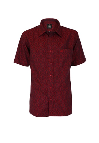 The Savile Row Co. red The SAVILE ROW Co Men's Short Sleeve Regular Fit Red Shirt (SV809-036-RE) 456B0AA5EF5FF2GS_1