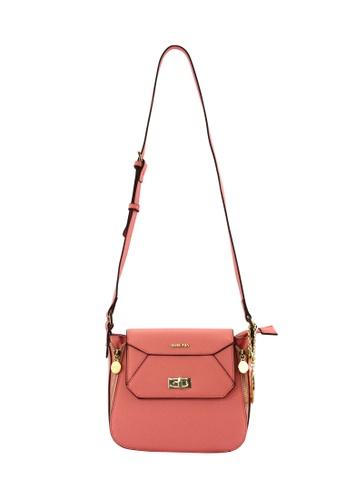 SEMBONIA pink SEMBONIA Synthetic Leather Saddle Flap Crossbody Bag SE598AC0RJYXMY_1