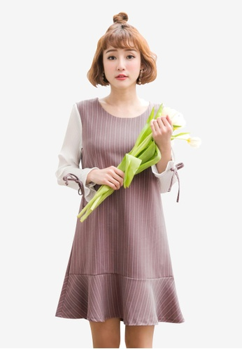 Tokichoi white and pink Striped Frill Hem Dress 82E05AA8792F2BGS_1