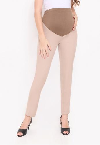 Chantilly brown Maternity Cotton Boot Pants 167D7AAFE8D7EDGS_1