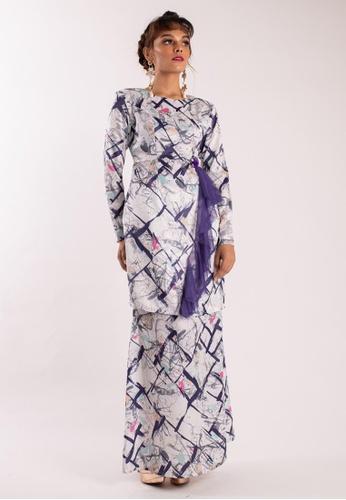 Diane Modern Kurung from LIDYA KUALA LUMPUR in White and Purple and Multi