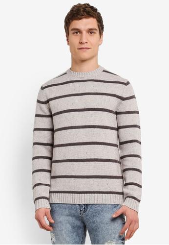 ESPRIT grey Striped Long Sleeve Jumper ES374AA0SAZ4MY_1