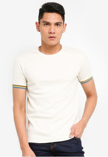 UniqTee white Slim Fit T-Shirt with Contrast Sleeve 2BD5DAAA8CFBA6GS_1