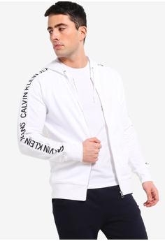1c14906b5040 Calvin Klein white Institutional Side Stripe Zip Hoodie - Calvin Klein  Jeans 97391AAE03339FGS 1