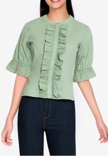 ZALORA BASICS green Broderie Front Blouse 2A226AA577DFDAGS_1