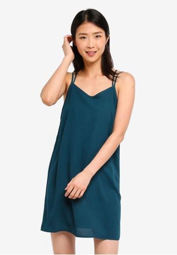 ZALORA BASICS green Basic Double Straps Cami Dress 45CCAAA56F4C62GS_1