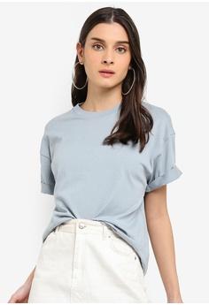 158ffa2e204dda TOPSHOP grey Boxy Roll Sleeve T-Shirt DB4F3AA7CDEBFAGS 1
