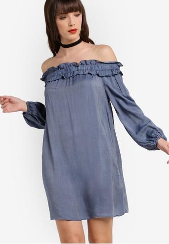 Miss Selfridge blue Rucched Bardot Dress MI665AA58LVPMY_1