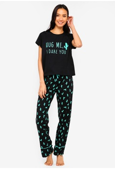 7b08f6ace64c4 South Beach multi Cactus Print T Shirt & Long Pants Pajamas  BF413AA56C114BGS_1