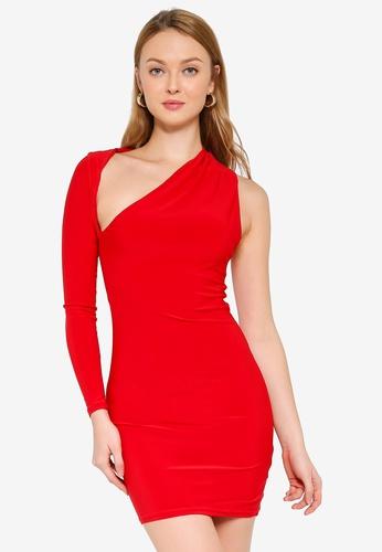 Public Desire red One Shoulder Bodycon Mini Dress 0E70EAA9F4E789GS_1
