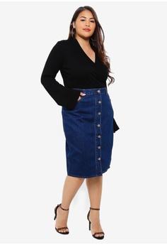 80dc6b43d817d 40% OFF LOST INK PLUS Plus Size Button Through Denim Pencil Skirt S$ 80.90  NOW S$ 48.90 Sizes 18 20 22 24