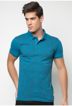Men's Paisley Print Polo Shirt