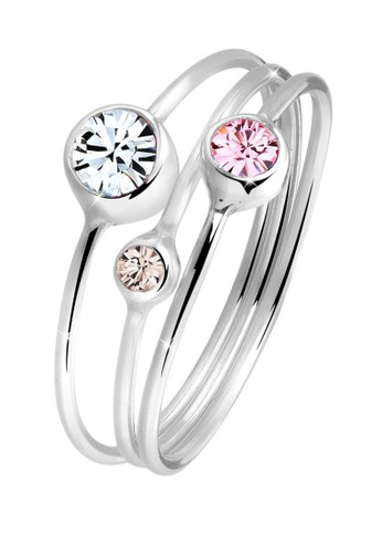 Elli Germany multi 925 Sterling Silver Cincin Set Simple Swarovski Crystals CC6F2AC0448F81GS_1