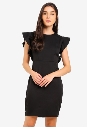 ZALORA black Ruffles Sleeves Semi Formal Dress 34C9AAA815F81DGS_1