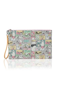 Comic Bear Pattern Envelop Clutch